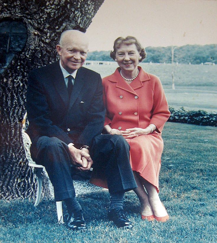 Dwight D. Eisenhower (1890-1969), 34th President of the United States (1953-1961) and First Lady Mamie Dowd Eisenhower (1896-1979).  On Valentine's Day in 1916 Eisenhower  gave her a miniature of his West Point class ring to seal a formal engagement. Lieutenant Dwight D. Eisenhower, aged 25, married Mamie Doud, aged 19, on July 1, 1916.