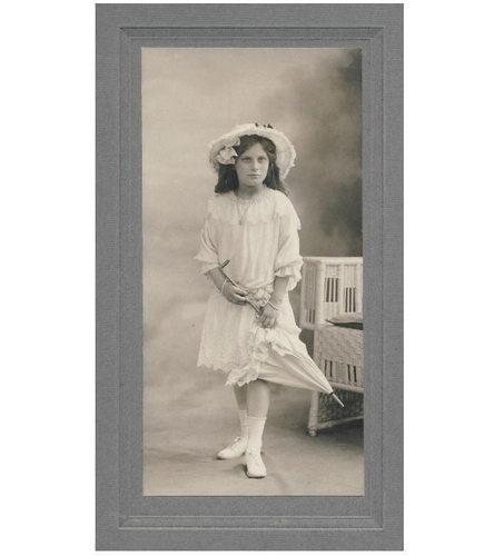 Pretty Girl Fancy Dress Hat Parasol Cabinet Photo c1910 Fashion | eBay