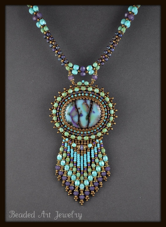 Bead Embroidered Beaded Beadwork Summer Skies by beadedartjewelry, $225.00