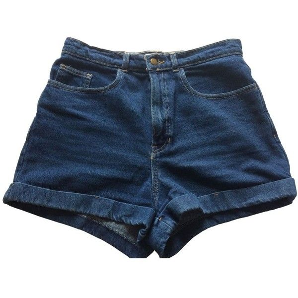 Blue Denim Jeans Shorts AMERICAN APPAREL ($56) ❤ liked on Polyvore featuring shorts, bottoms, american apparel, american apparel shorts and blue shorts