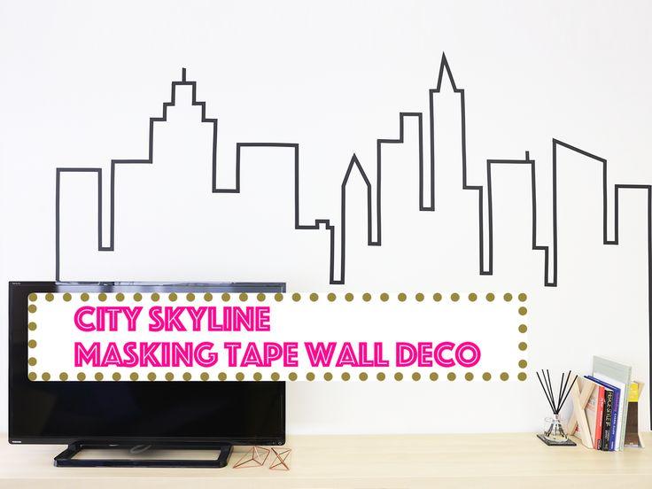 New York City Skyline Masking Tape Wall Decorationマスキングテープで描く!街のスカイラインをウォールデコ☆ - CANDIY | シティガールのDIYレシピ&ツールのセレクトショップ