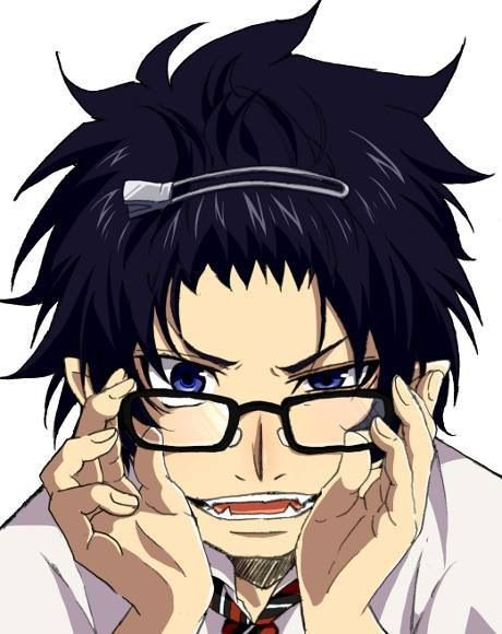 Ao no exorcist Blue exorcist Rin megane- he is soo cute with his hair clip and Yukio's glasses!