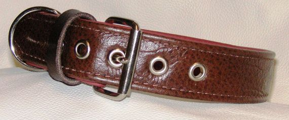 crock grain brown on dark pink leather dog collar by new forest crafts  www.etsy.com/uk/shop/newforestcrafts