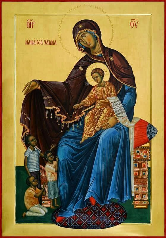 "Theotokos with the inscription in Swahili ""Mother of the Orphans"". Patriarchal School, Kenya. (Icon painted by Marius Ghinescu)"