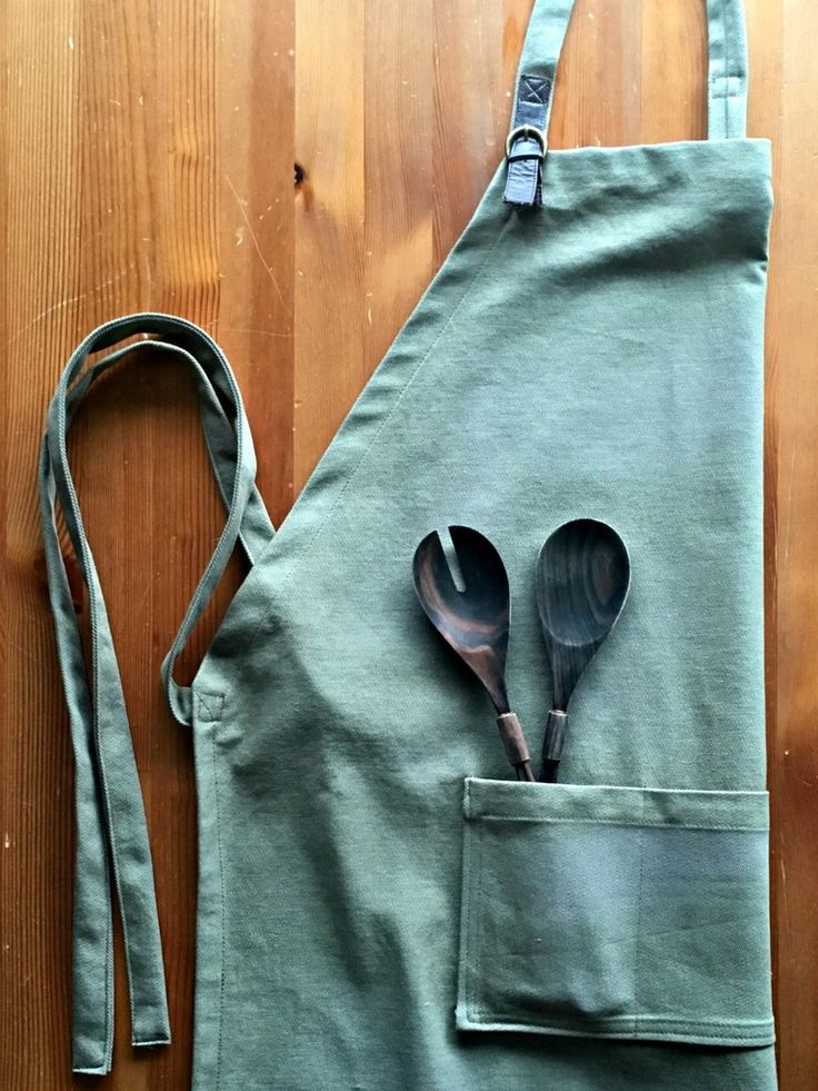Men's Apron Sewing Tutorial: how to sew an apron for guys with a decorative faux leather strap. Perfect for cooking, bbq, and as a utility apron. Includes cutting dimensions. Makes a great gift! | She's Got the Notion