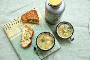 Leek, butter-bean and parsley soup: just two main ingredients and a cooking time of less than 30 minutes.