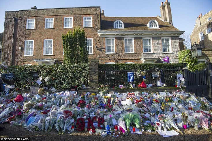 Flowers are left outside George Michael's house in Highgate, north London after the singer was found dead on Christmas Day