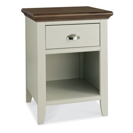 Hampstead Soft Grey & Walnut 1 Drawer Nightstand