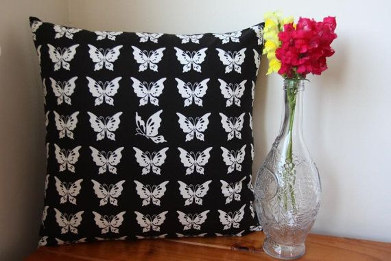 ON SALE: Handmade Black and White Cotton Butterfly Cushion Pillow With Zip Closure on Etsy, $25.00 AUD