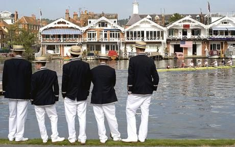 Henley Royal Regatta on the River Thames by Henley-on-Thames. The Royal Regatta is sometimes referred to as Henley Regatta, its original name pre-dating Royal patronage. Lasts 5 days (Wednesday - Sunday) first weekend in July. Races are head-to-head knock out competitions, raced over a course of 1 mile, 550 yds. The most prestigious event at the regatta is the Grand Challenge Cup for Men's Eights, which has been awarded since the regatta was first staged. It is part of The Season's calendar.