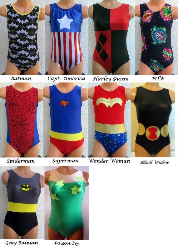 Super Hero Comic Villain Leotard Gymnastics - inspired by Batman, Capt America, Harley Quinn, Spiderman, Superman, Wonder Woman, Black Widow