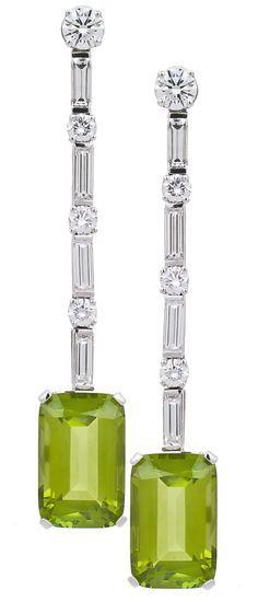 Art Deco Emerald Cut Peridot and Diamond Earrings.