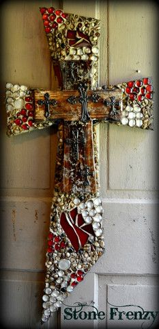 Slant Style Cross, done in Red, Clear, Rock and Red Stain Glass – www.stonefrenzy.com