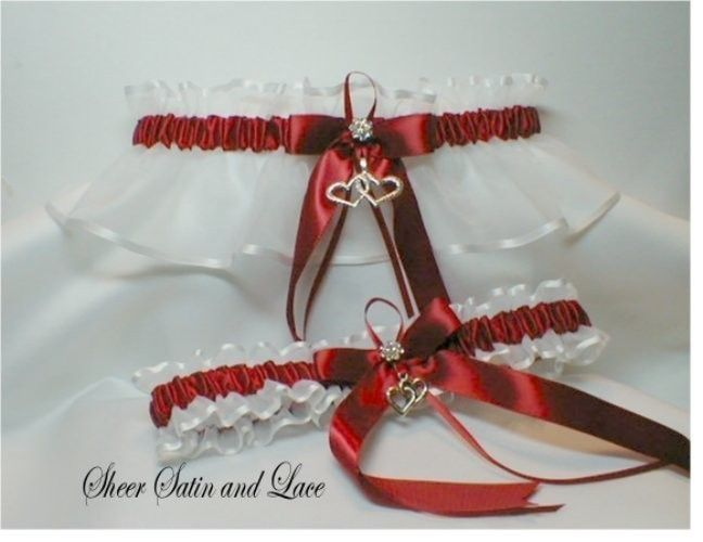 Double Heart Scarlet / Apple Red And White Wedding Garters etsy