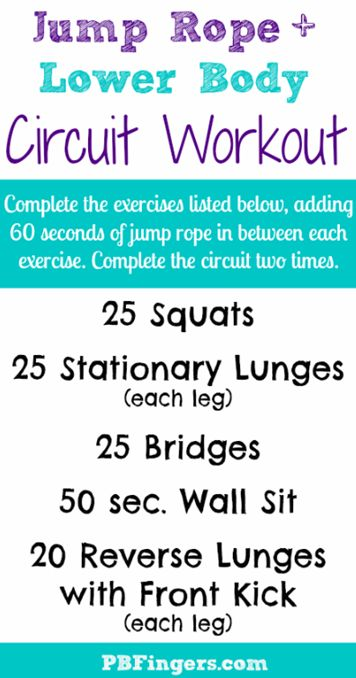 Jump rope and lower body circuit workout!