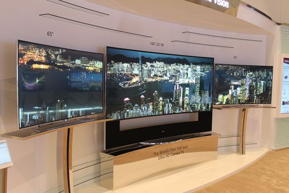 The new LG 105-inch UHDTV, which is curved.