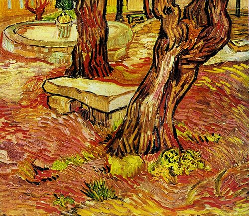 Vincent Van Gogh, come Claude Monet, è stato un pittore di panchine. Ma a differenza delle panchine di Monet, quelle di Van Gogh sono desolatamene vuote. Una di queste è la panchina di pietra dell'Ospedale Saint-Paul (1889). Le linee sono deformate, la panchina sembra muoversi, agitarsi, quasi volesse staccarsi da terra, come se il furore mentale di Van Gogh si riversasse fisicamente su di essa e su quello che la circonda. Il mondo di Van Gogh è un mondo che balla.