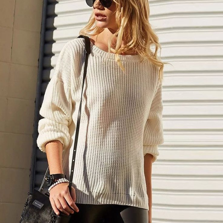 Sweater Women Deep V-Neck Long Sleeve Sexy Women Pullover Top Loose Knitted Ladies Jumpers