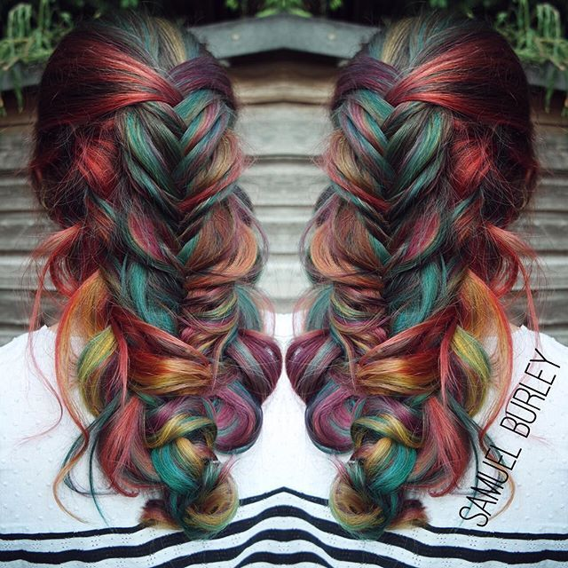 Romantic messy braid with rainbow color design by Samuel Burley of the U.K. #hotonbeauty HOT Beauty Magazine facebook.com/hotbeautymagazine