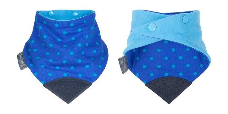 NECKERCHEW POLKA DOT BLUE available at http://littlem.com.au/product/neckerchew-dribble-bib/  teething baby - dribble bib - chewy bib - teething toy - chewy toy #neckerchew