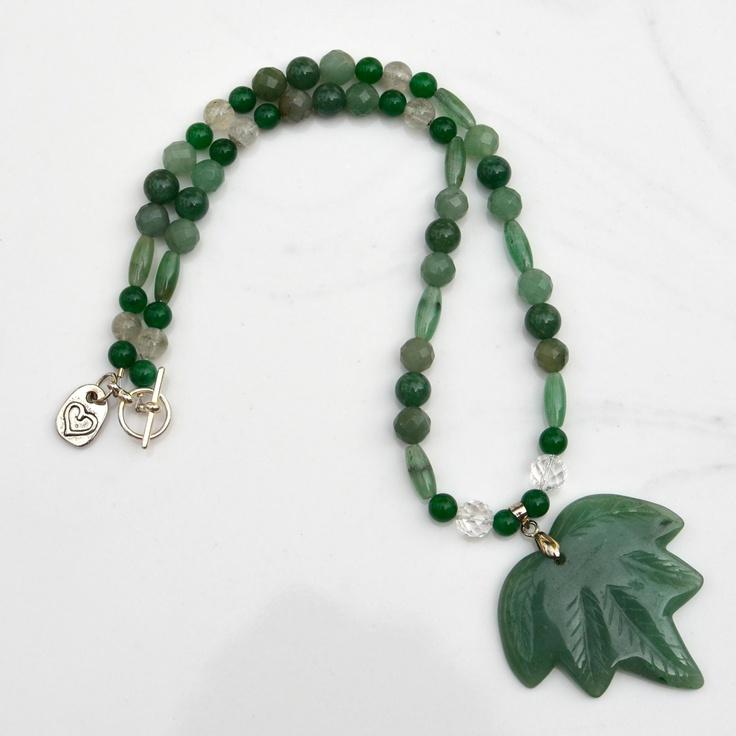 Green Aventurine carved leaf necklace. $26.00, via Etsy.
