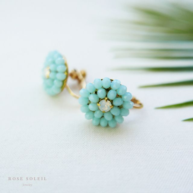 Rose Soleil Jewelry Tropical Sky Collection | ローズソレイユジュエリー ✧ グラスクリスタルイヤリング ✧ トロピカルスカイコレクション