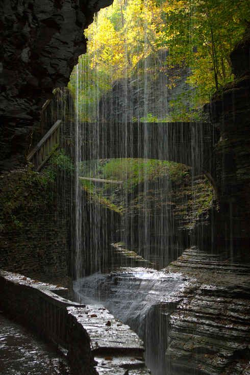 Niagara Falls is a sight to see, but located south of Seneca Lake in the Finger Lakes region lies a lesser-known fantasy-like area called Rainbow Bridge and Falls at Watkins Glen State Park. It will make you feel like you're in Lord of the rings
