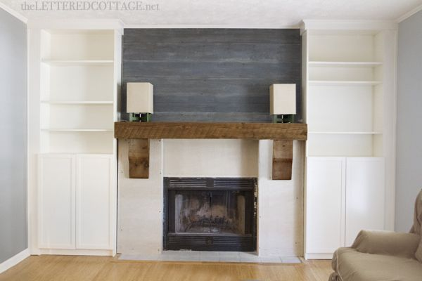 Fireplace makeover rustic mantel billy bookcase built in - Mantel plastificado ikea ...