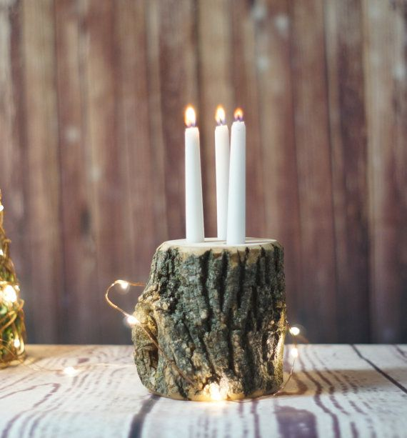 Tapered Candle Holder - Rustic Candle Holder - Tree bark Candle - Rustic Wedding Decor - Rustic Centerpiece - Log Centerpiece - Rustic Chic