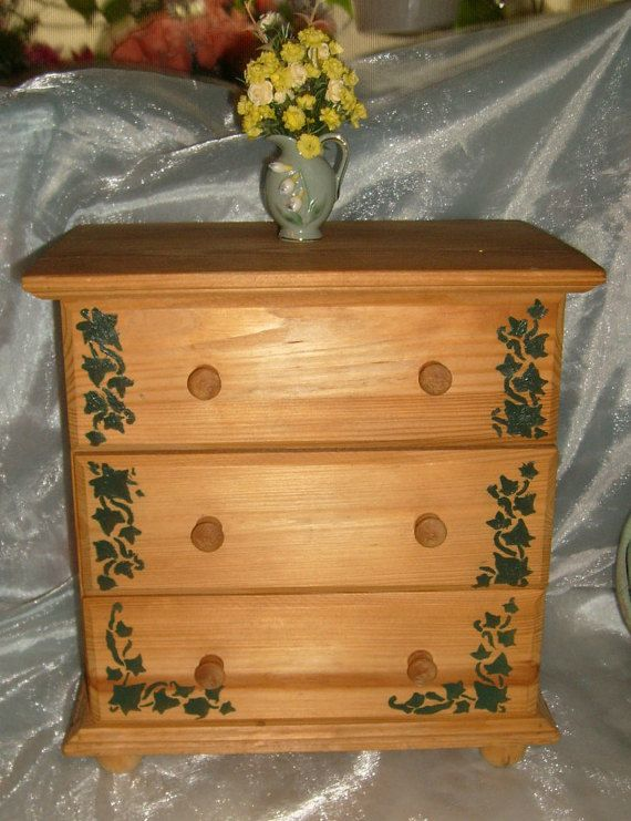 beautiful one of kind larger size beautiful handmade wood doll dresser,bureau,tallboy with 3 drawers in excellent condition![shd-rak]  all wood with green ivy leaf design!  measures approx.13 x 12 x 7.5.  clean and smooth with lovely design and patina! heavy,solid and tight.well preserved and taken care of. no scratches,dents or damage i can find.its over 50 years old.its been in storage for a lot of years. see pictures.  big,tall and good for just about any doll. american…
