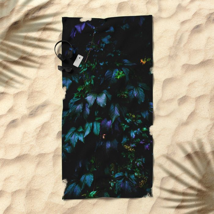 Welcome to the Jungle Beach Towel #forest #nature #jungle #floral #botanical #dark #magical #colorful #beach #towel