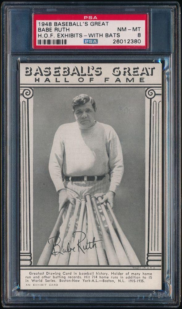 1948 Baseballs Great Hof Exhibits Babe Ruth With Bats Psa