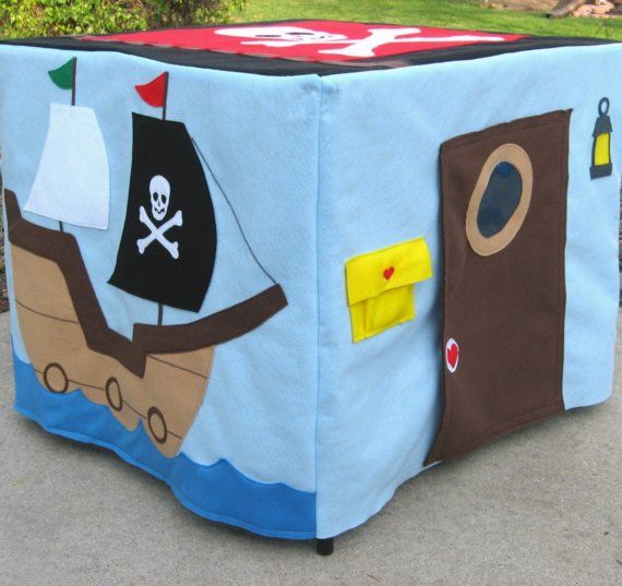 Playhouse - slips over a card table. LOVE IT.Pirates Ships, Kids Stuff, Plays House, Cards Tables Playhouses, Cute Ideas, Boys, Pirates Playhouses, Pirates Cards, Play Houses