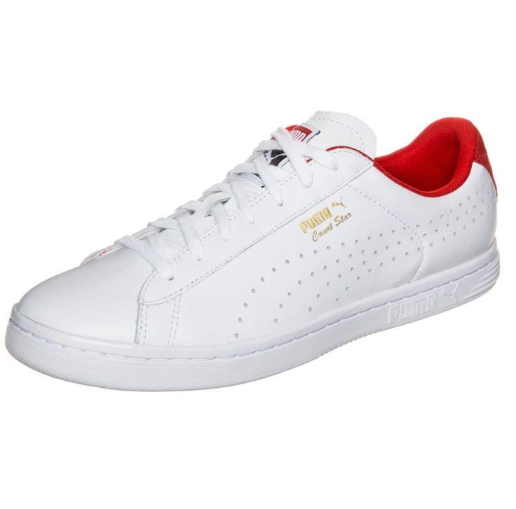 Białe buty męskie #Puma COURT STAR CRAFTED z czerwonymi wykończeniami i białą podeszwą, pochodzą z najnowszej kolekcji.   - Strona zewnętrzna: ozdobne dziurki oraz delikatny napis Puma, - Strona wewnętrzna: wykończona została ozdobnymi przeszyciami, - Język: naszywka z logo Puma, - Pięta: logo Puma, - Materiał: #skóra naturalna, - Wiązanie: sznurówki, Dostępne rozmiary: 37, 40, 40,5, 42, 43, 44, 44,5, 45, 46, 47.  #butymęskie #obuwiesportowe #buty #butysportowe #kolekcjaPumaCourtStarCrafted