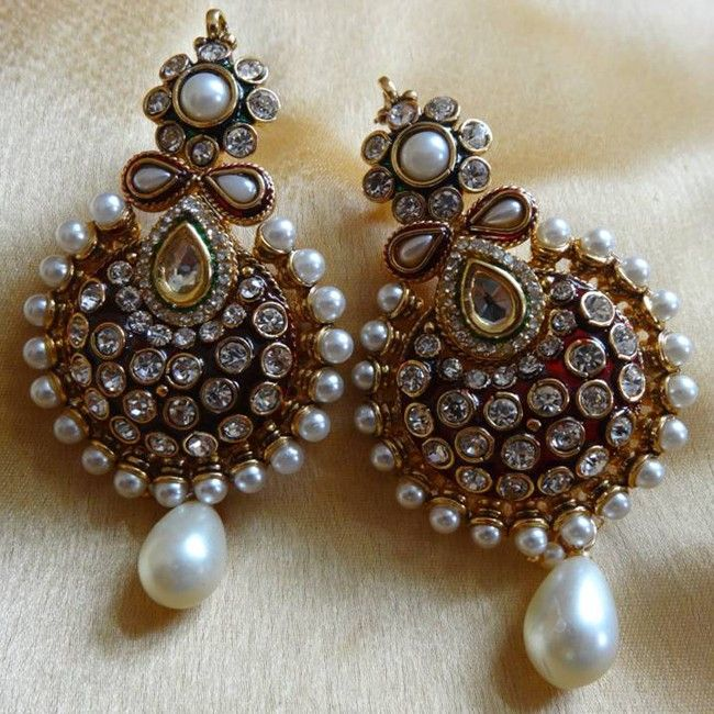 Splendorous White Color Gold Plated #Earring