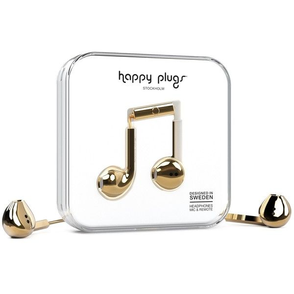 Happy Plugs Earbud Plus ($37) ❤ liked on Polyvore featuring accessories, tech accessories, gold, headphones, womens-fashion, ear bud headphone, earphones earbuds, happy plugs, headphones earbuds and earbud headphones