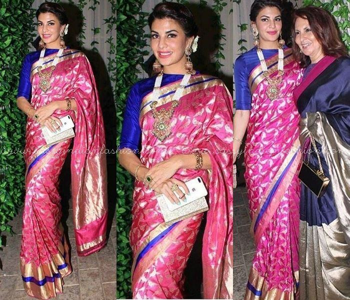 Jacqueline Fernandez in Pink Silk Saree with Bloue Border and Blue Blouse