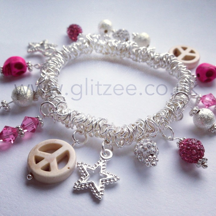 A mash up charm bracelet. Available in pink, black, silver, purple and turquoise