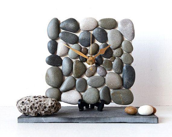 Pebble Desk Clock Small Wall Clock - Beach Nautical Clock - Natural Stone Clock - Pebble Art Brown Dark Beige Grey - 3D Mosaic Clock