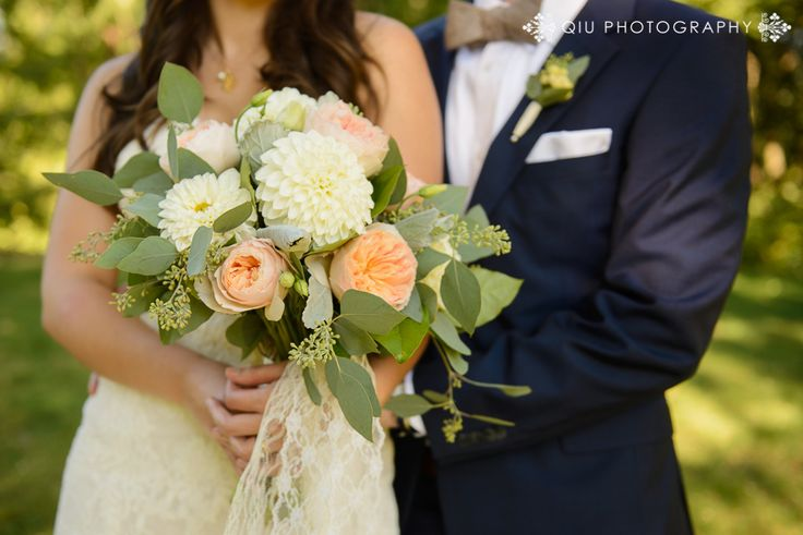 Free style Bridal Bouquet with Peach Garden Roses and Ivory Dahlias, Lots of Lush Greenery