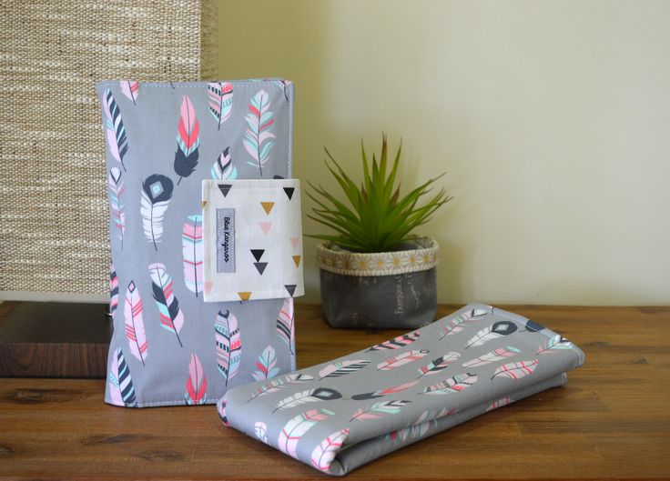 Nappy change set, waterproof mat and nappy wallet, travel set - Feathers by BlueKangarooHandmade on Etsy