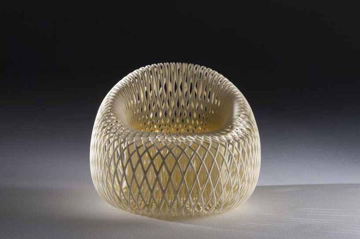 keisuke fujiwara: wrapping chair molded from styrofoam mesh - designboom | architecture