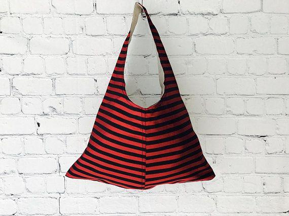 Red & Black Striped Silk Tote Bag,Over The Shoulder Bag,Boho Tote ,Gift For Her,Casual Handbag,Womens Shoulder Bag,Hobo Handbag,Everyday Bag