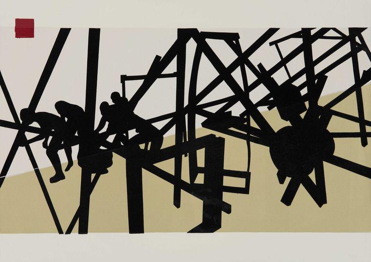 Serge-Alain Nitegeka (b 1983). MANOEUVRE: STUDIO STUDY I 2013. Linocut, 42 x 59cm.