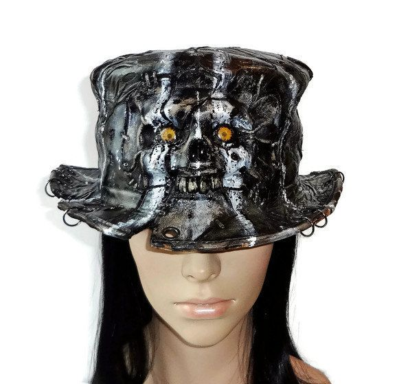 Leather zombie top hat Steampunk top hat gothic top hat skull top hat  monster mad hatter 050062694e0