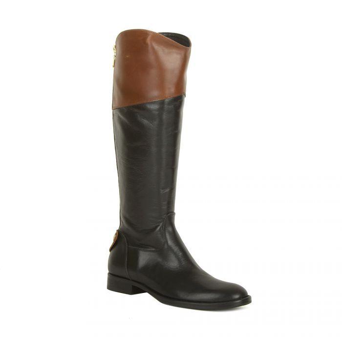 Alessandro Черные кожаные сапоги с коричневыми отворотами от Alessandro