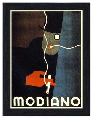 AP-FRAME-1643 - Modiano Cigarette Papers, Art Deco Advert, 1920s - Framed Print 32x42cm Black