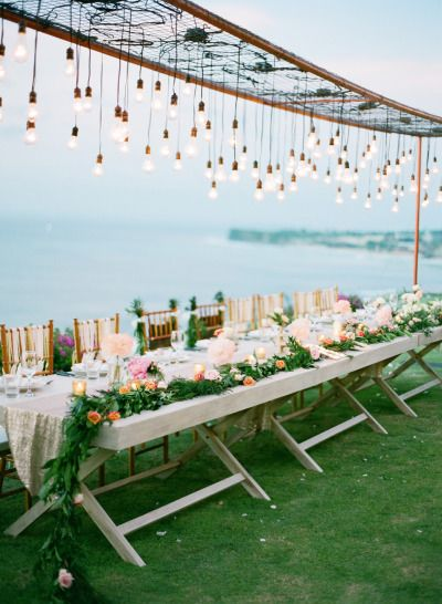 Bulb lighting: http://www.stylemepretty.com/2014/09/11/romantic-cliff-top-wedding-by-the-sea-in-bali/ | Photography: Jemma Keech - http://jemmakeech.com/