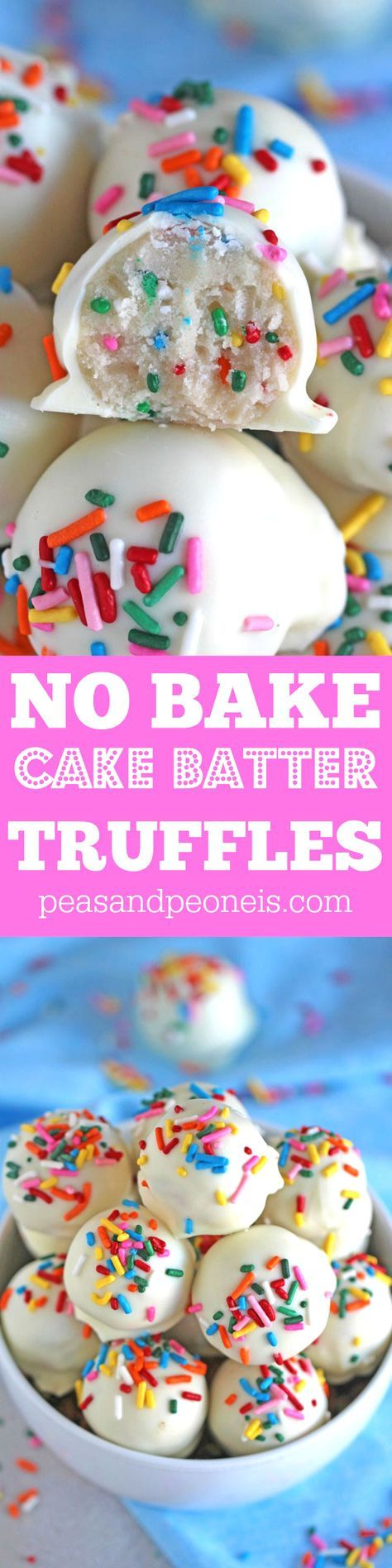 No Bake Cake Batter Truffles are very easy to make using funfetti cake mix. Loaded with lots of sprinkles and dipped in white chocolate, these are delicious. (chocolate brownie cake video)