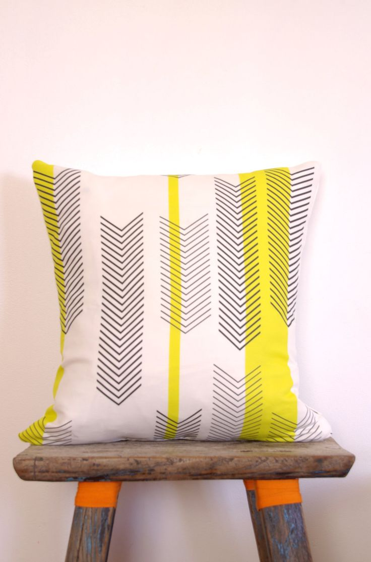 Cushion Cover Arrow Chevron Black  White Print with Yellow Stripes   Neon Vintage Design